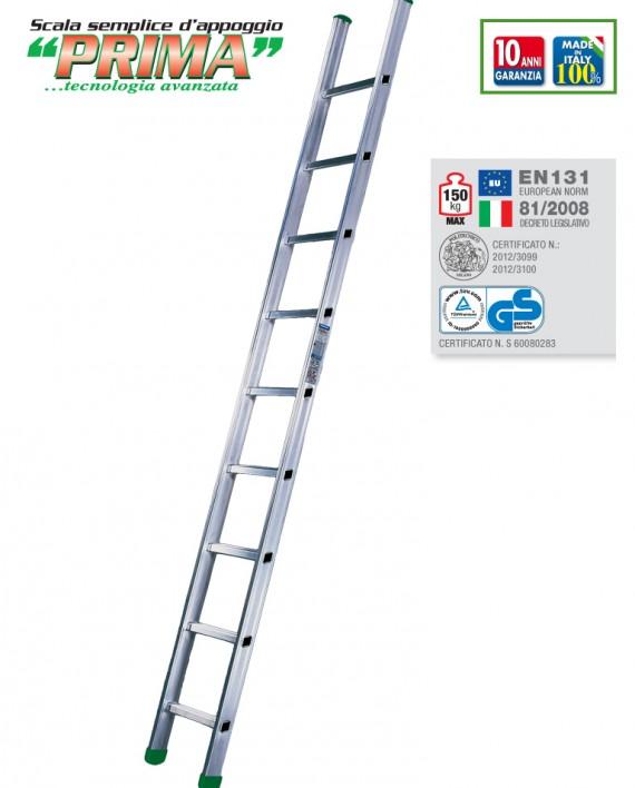 PRIMA/L scala singola d'appoggio in alluminio a gradini larghi