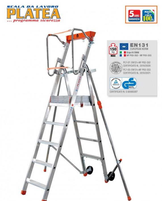 PLATEAè scala da lavoro in alluminio non su ruote con stabilizzatori telescopici di sicurezza