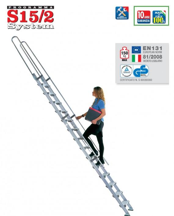 S15/2 scala singola d'appoggio in alluminio a gradino largo